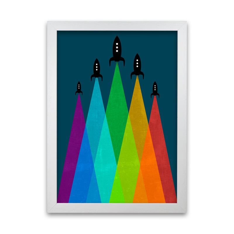 Rainbow and Navy Rocket B A1 White Grain Frame