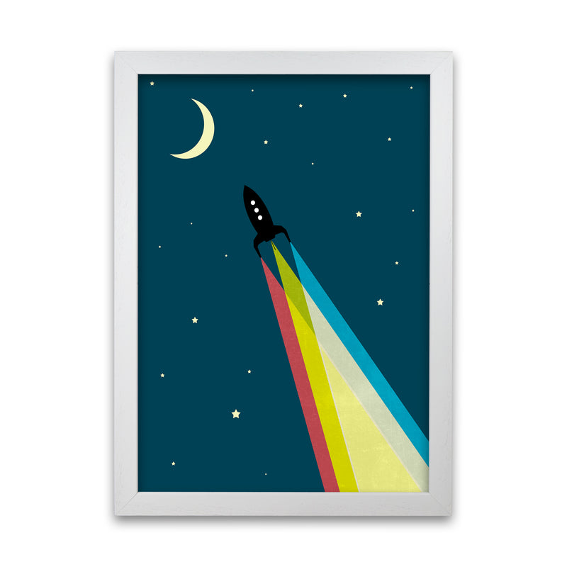 Rocket Bedroom Print A A1 White Grain Frame