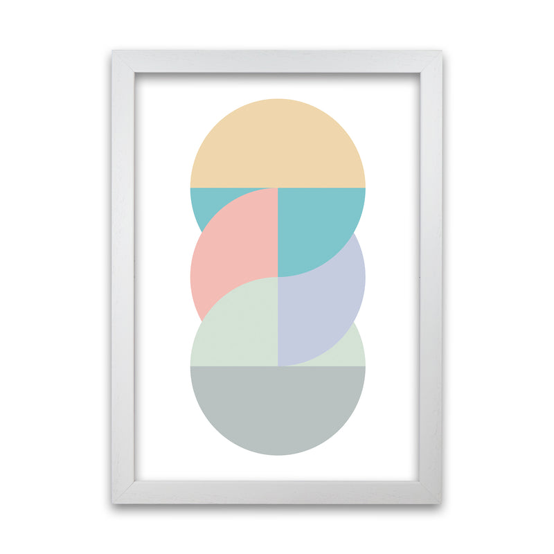 Abstract Pastel Nursery Print B A1 White Grain Frame