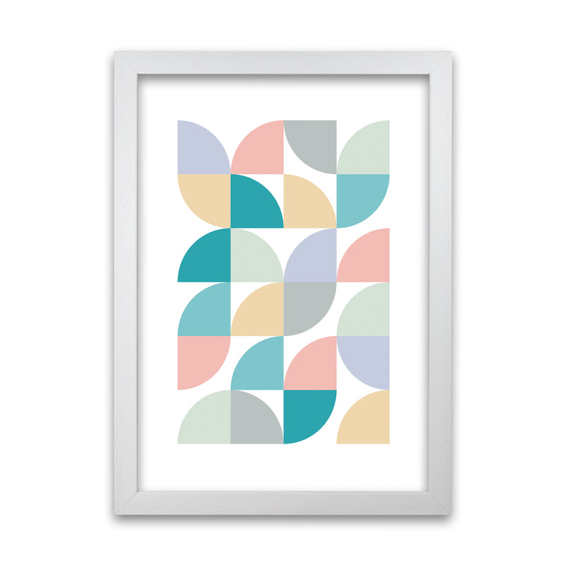 Abstract Pastel Nursery Print C A1 White Grain Frame
