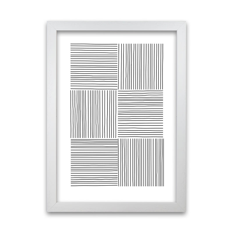 Black and White Squared Lines A1 White Grain Frame