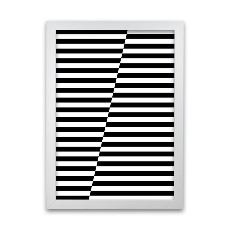 Black and White Stripe ALT A1 White Grain Frame