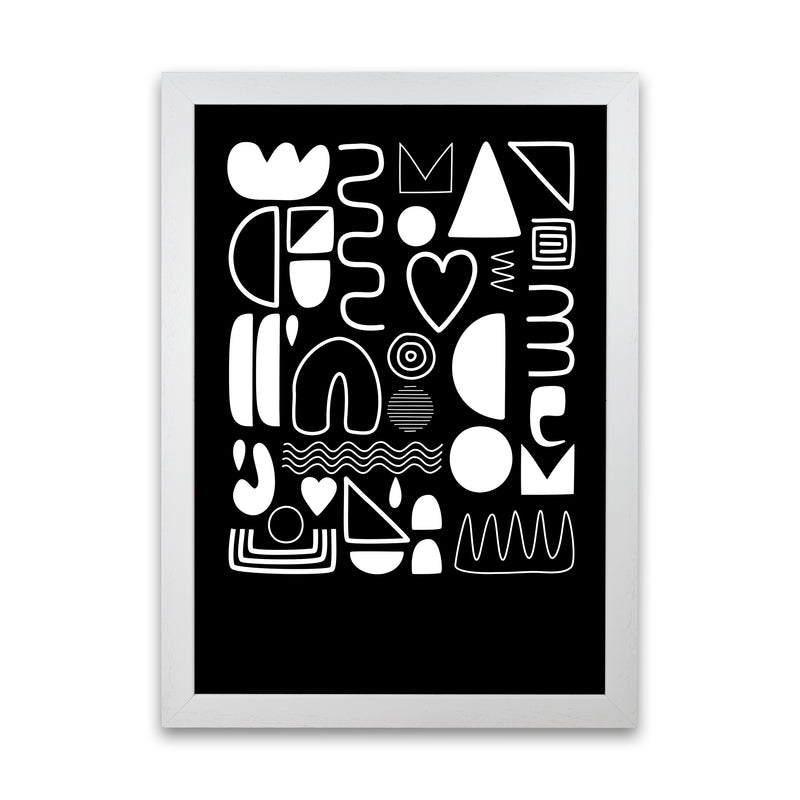 White and Black Scandi Shapes A1 White Grain Frame