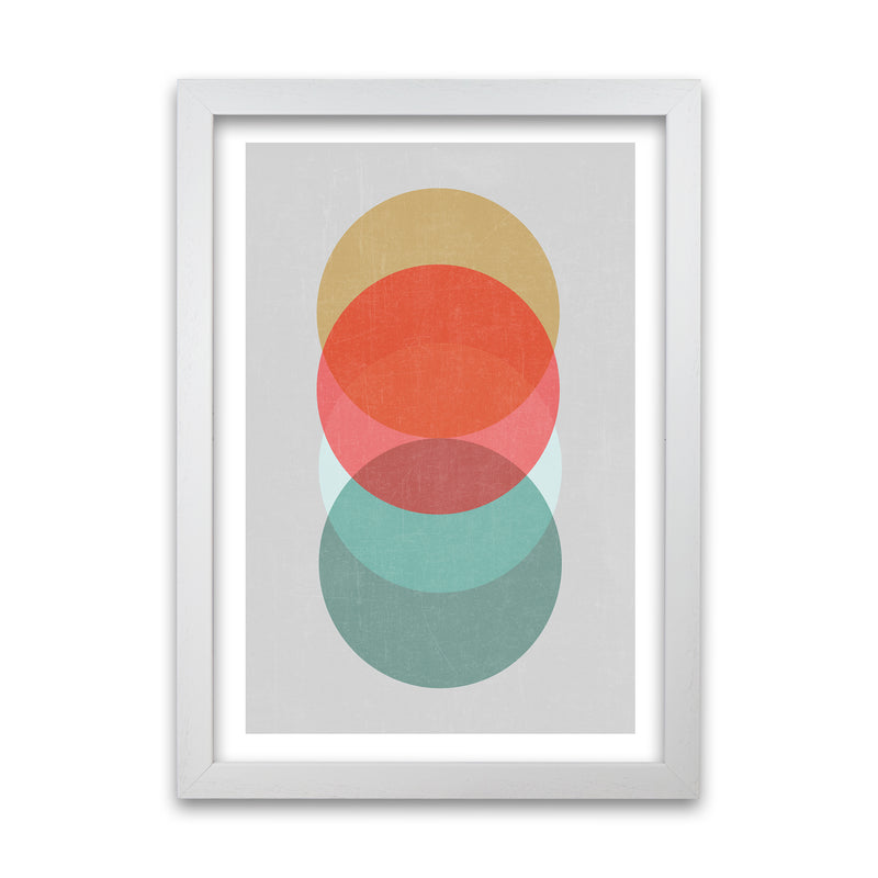 Mid Century Circles in Scandi Colours A A1 White Grain Frame