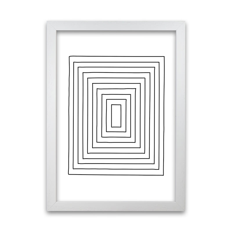 Geometric Set of 2 Black and White  Print B A1 White Grain Frame