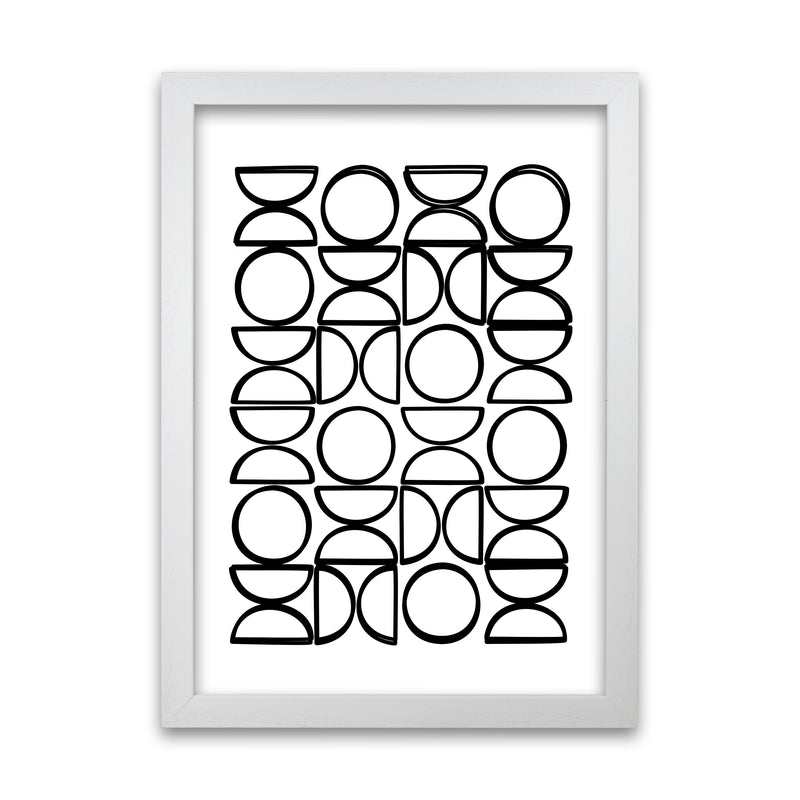 Black and White Mid Century Geometric Print A A1 White Grain Frame