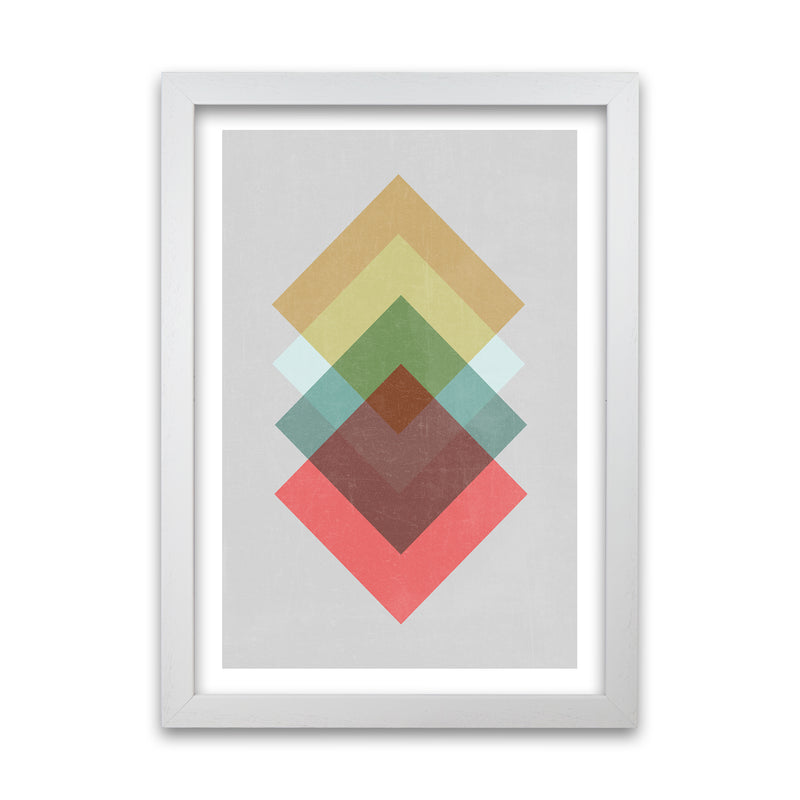 Mid Century Shapes in Scandi Colours B A1 White Grain Frame