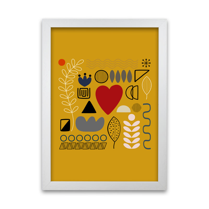 Yellow Scandinavian Abstract Shapes Original A1 White Grain Frame
