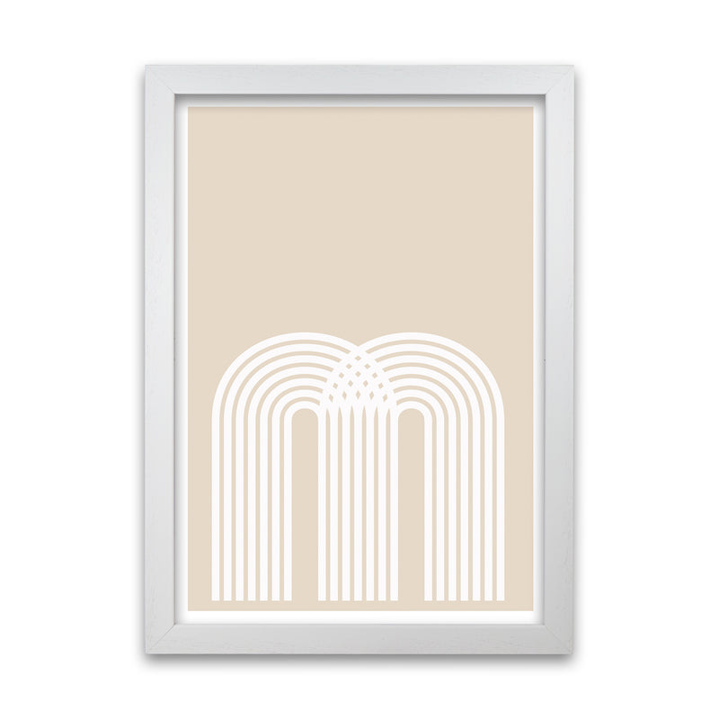 Art Deco Neutral Original  A1 White Grain Frame