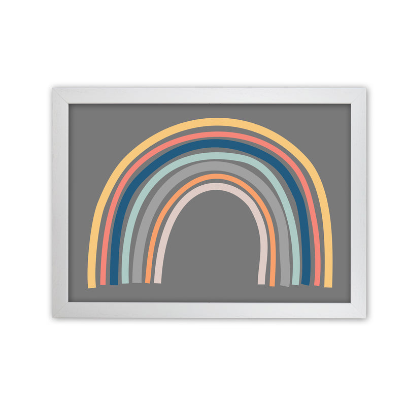 Rainbow on Gray Original  A1 White Grain Frame