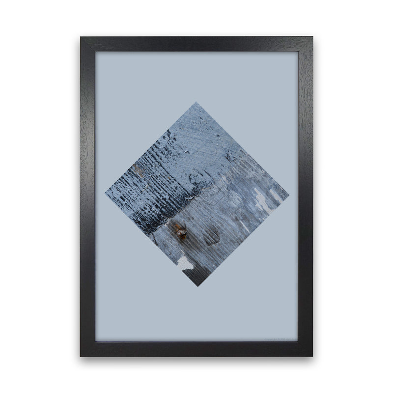 Blue Square On Pale Blue   by Ruth Holly A1 Black Frame
