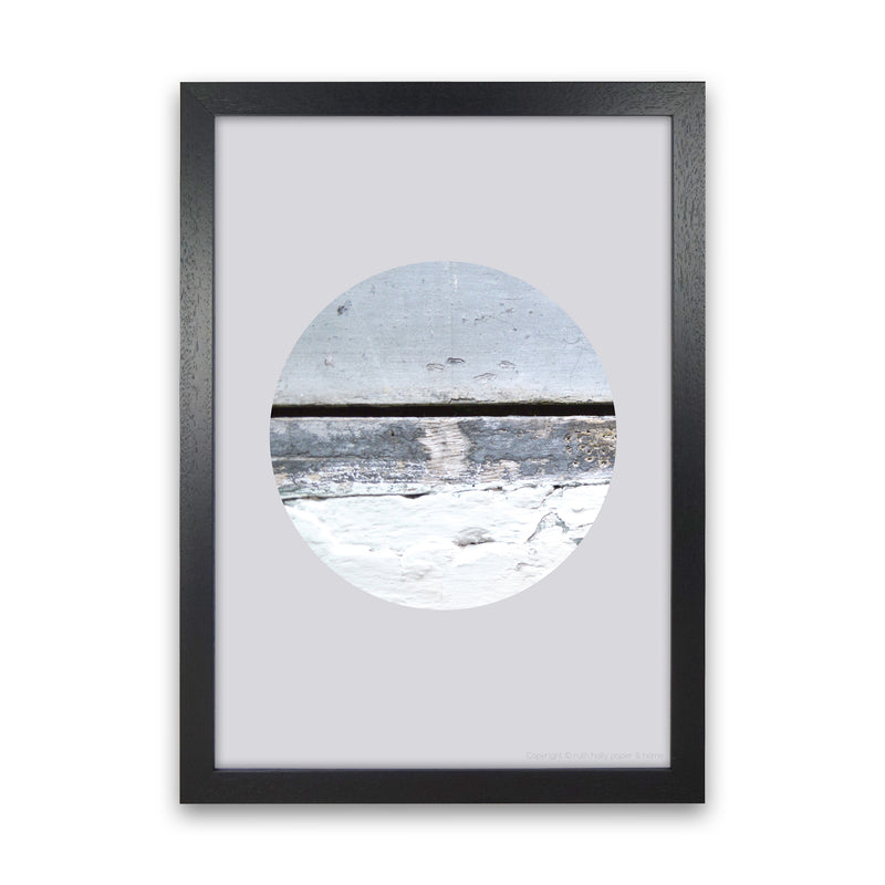 Blue Circle With Horizontal Line   by Ruth Holly A1 Black Frame