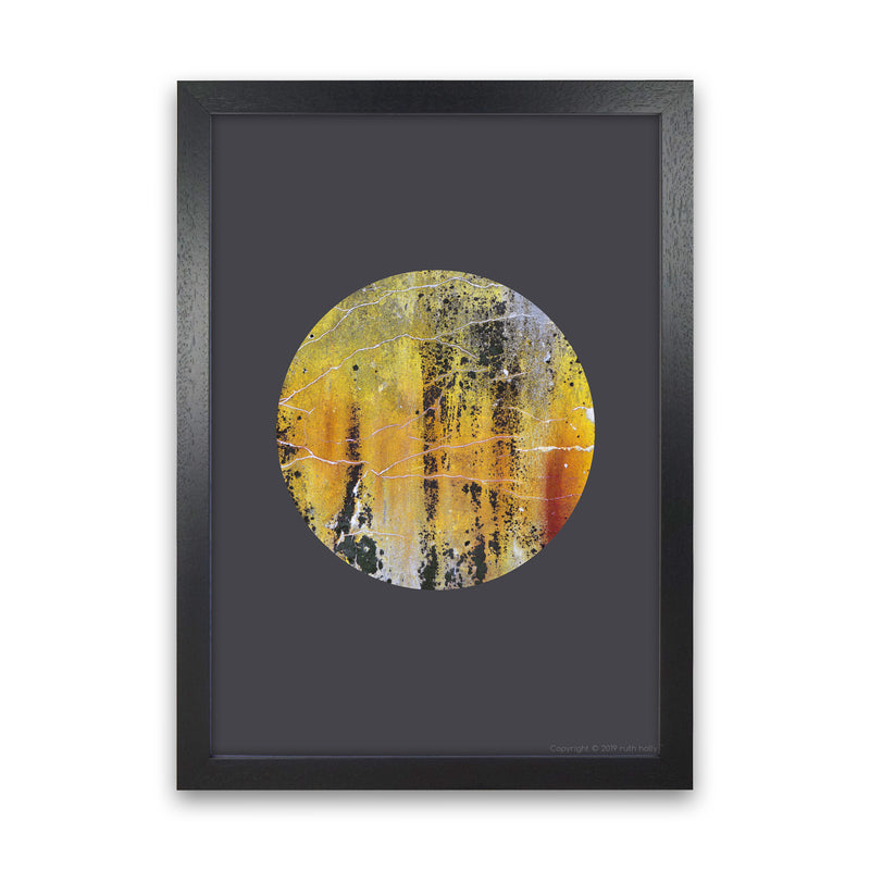 Cracked yellow Circle On Dark Grey   by Ruth Holly A1 Black Frame