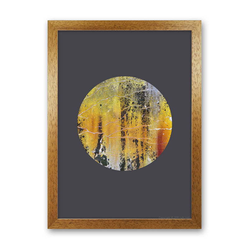 Cracked yellow Circle On Dark Grey   by Ruth Holly A1 Oak Frame