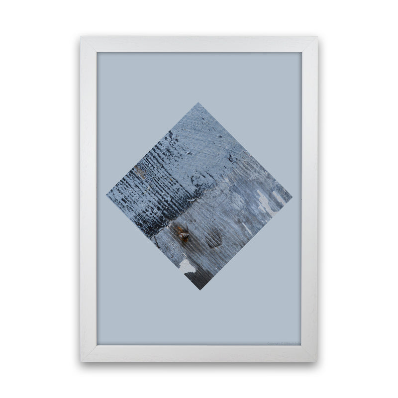 Blue Square On Pale Blue   by Ruth Holly A1 White Frame