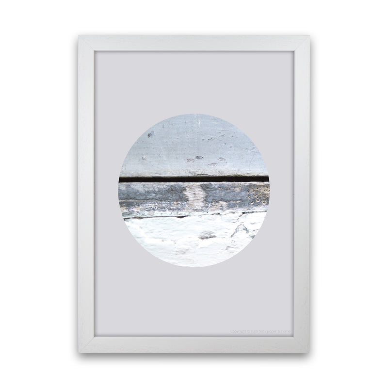 Blue Circle With Horizontal Line   by Ruth Holly A1 White Frame