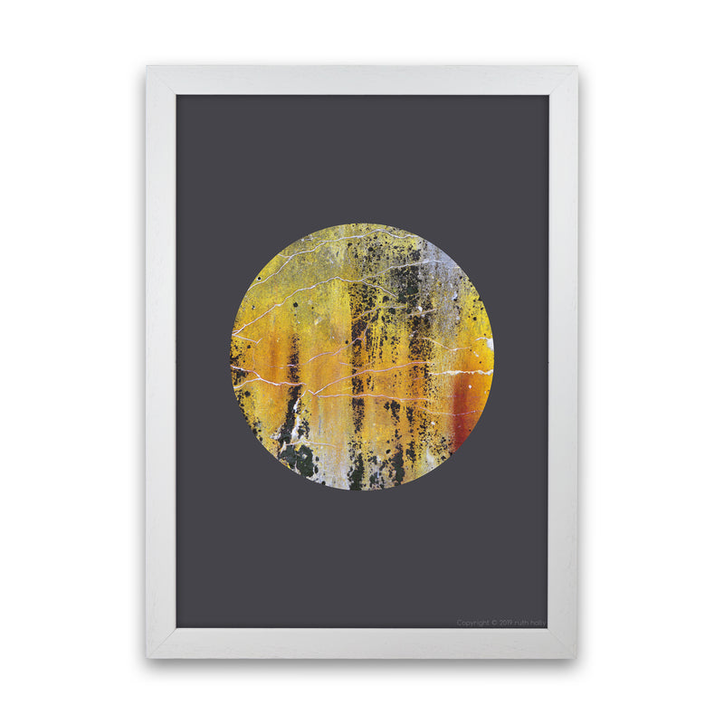 Cracked yellow Circle On Dark Grey   by Ruth Holly A1 White Frame
