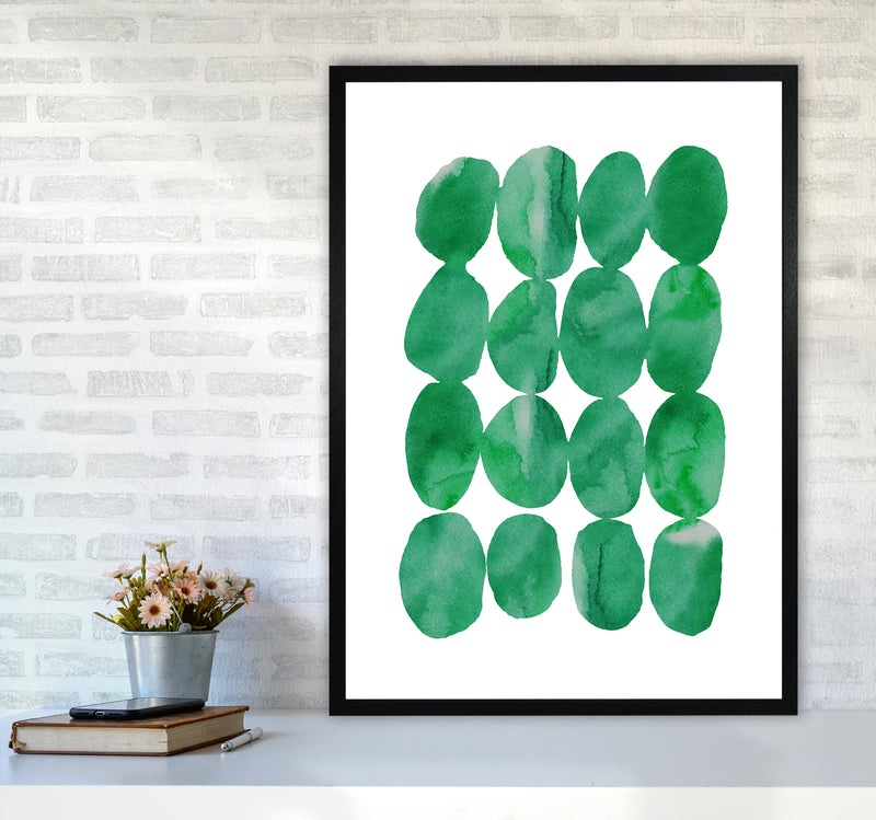 Watercolor Emerald Stones A1Black Frame