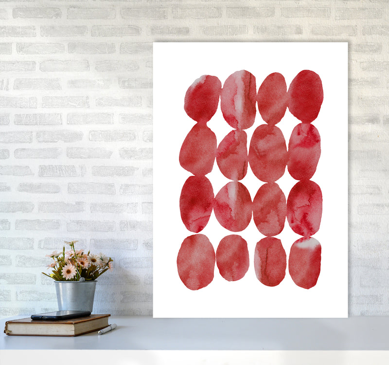 Watercolor Red Stones A1 Print Only
