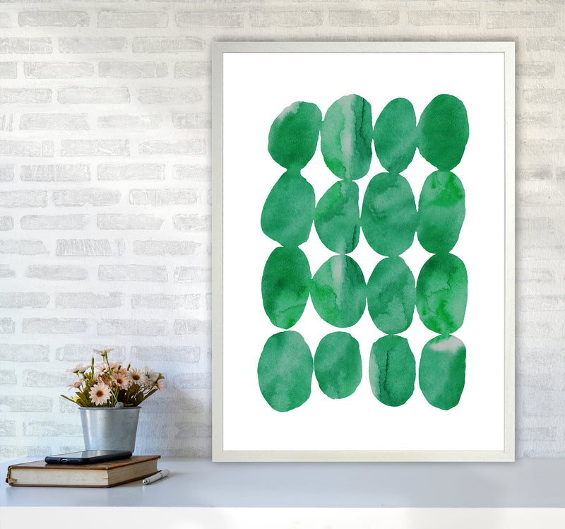 Watercolor Emerald Stones A1 White Frame