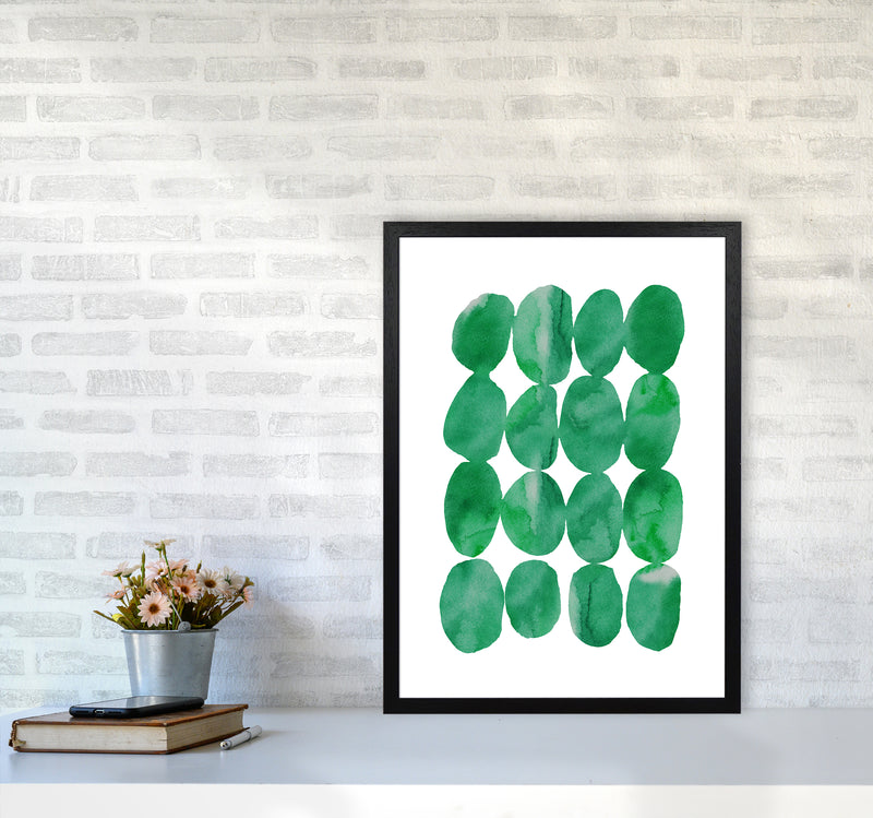 Watercolor Emerald Stones A2 Black Frame