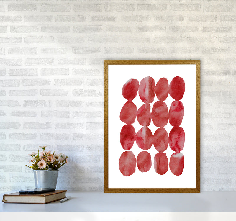 Watercolor Red Stones A2 Oak Frame