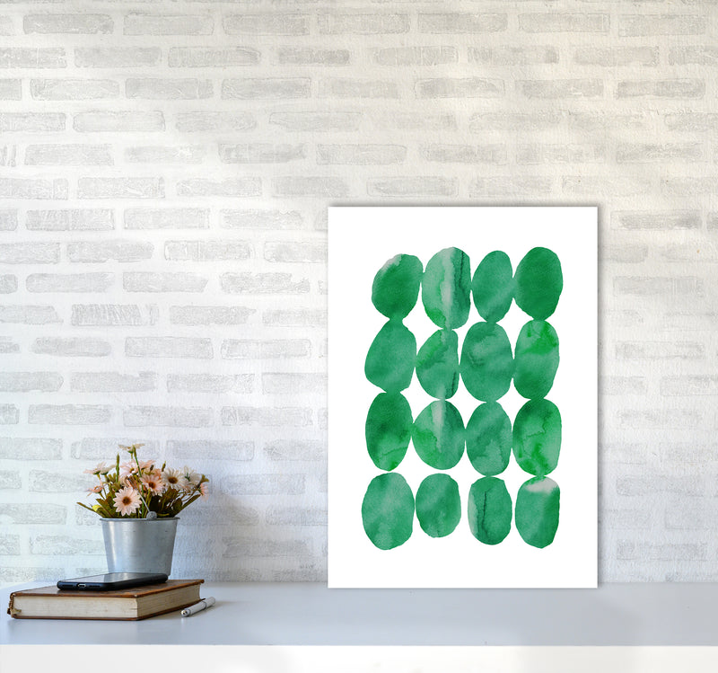 Watercolor Emerald Stones A2 Print Only