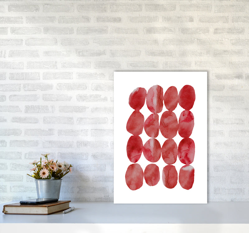Watercolor Red Stones A2 Print Only