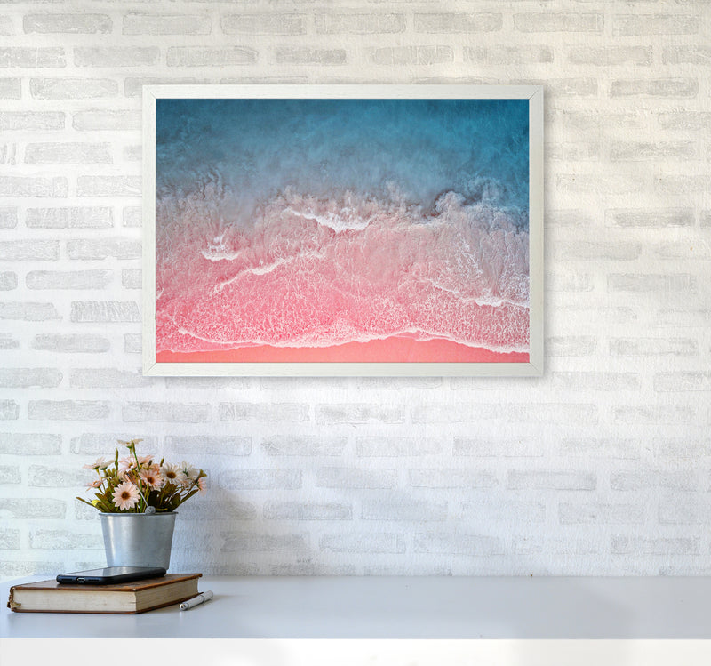 The Pink Ocean A2 White Frame
