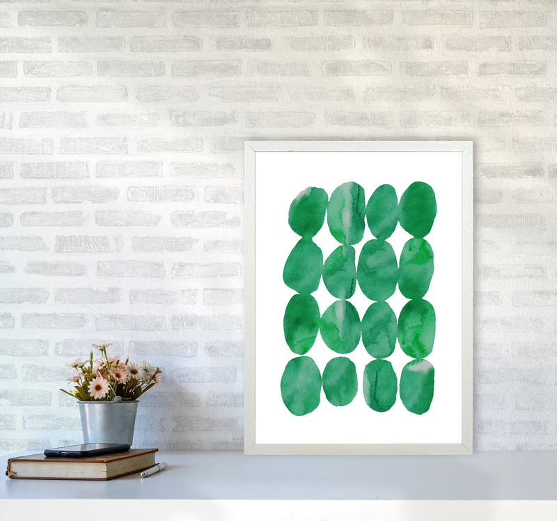 Watercolor Emerald Stones A2 White Frame