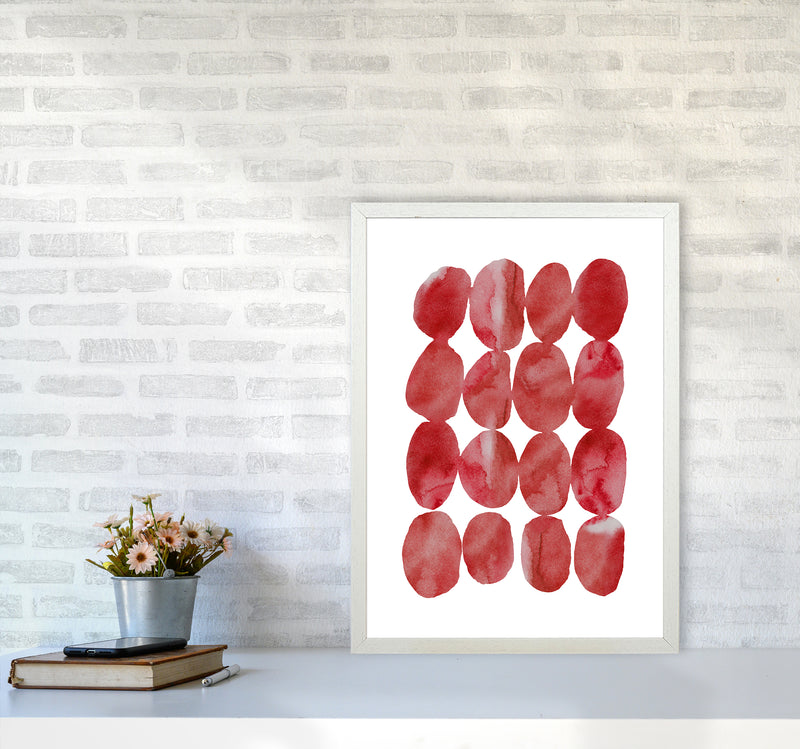 Watercolor Red Stones A2 White Frame