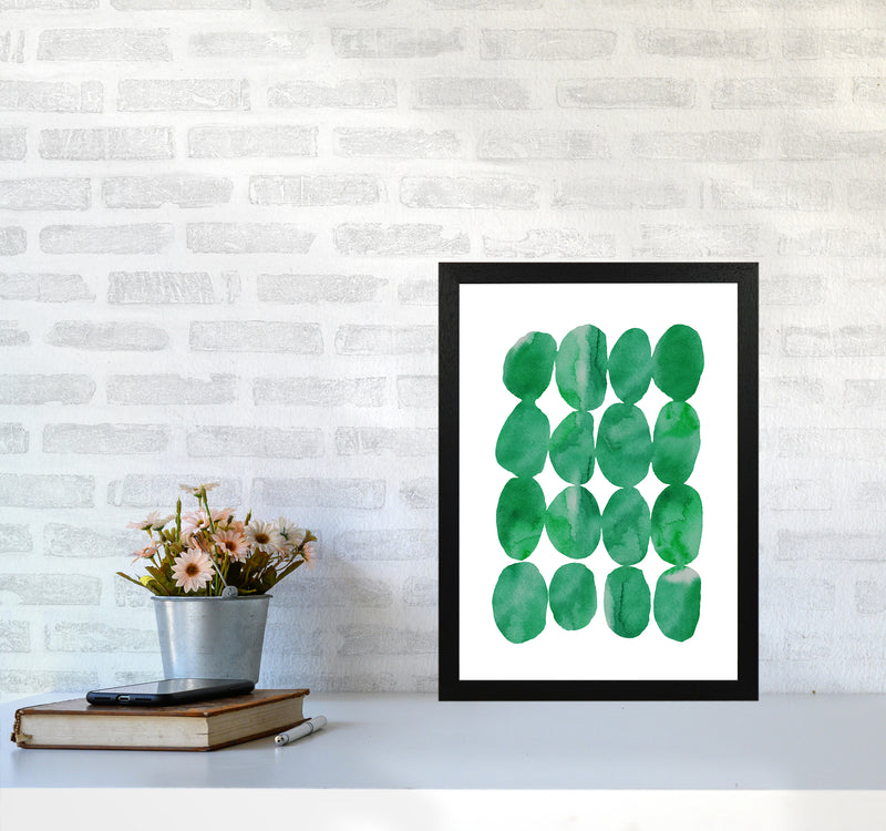 Watercolor Emerald Stones A3 Black Frame
