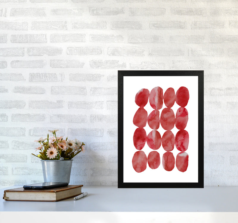 Watercolor Red Stones A3 Black Frame