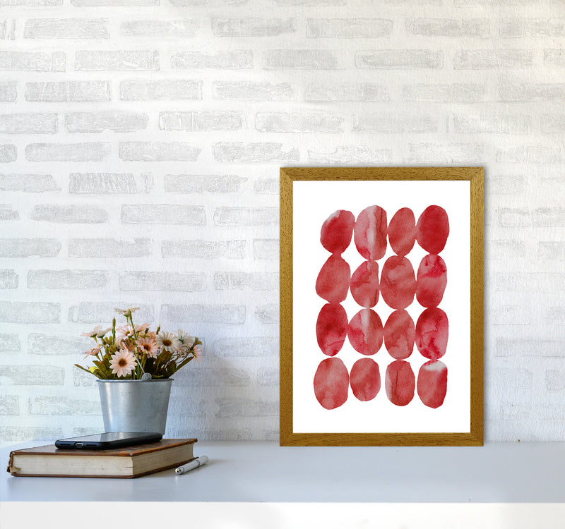 Watercolor Red Stones A3 Oak Frame
