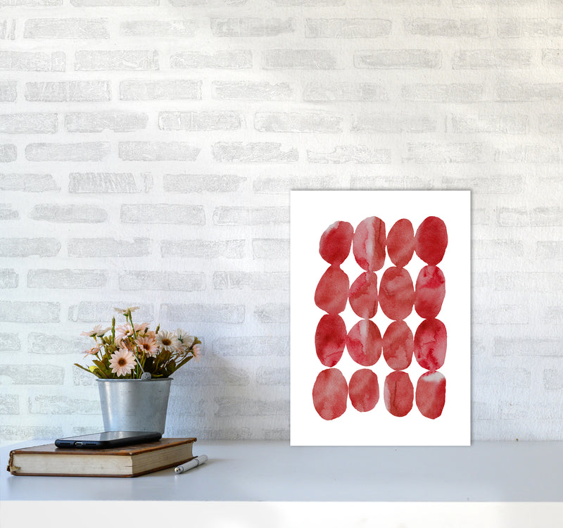 Watercolor Red Stones A3 Print Only