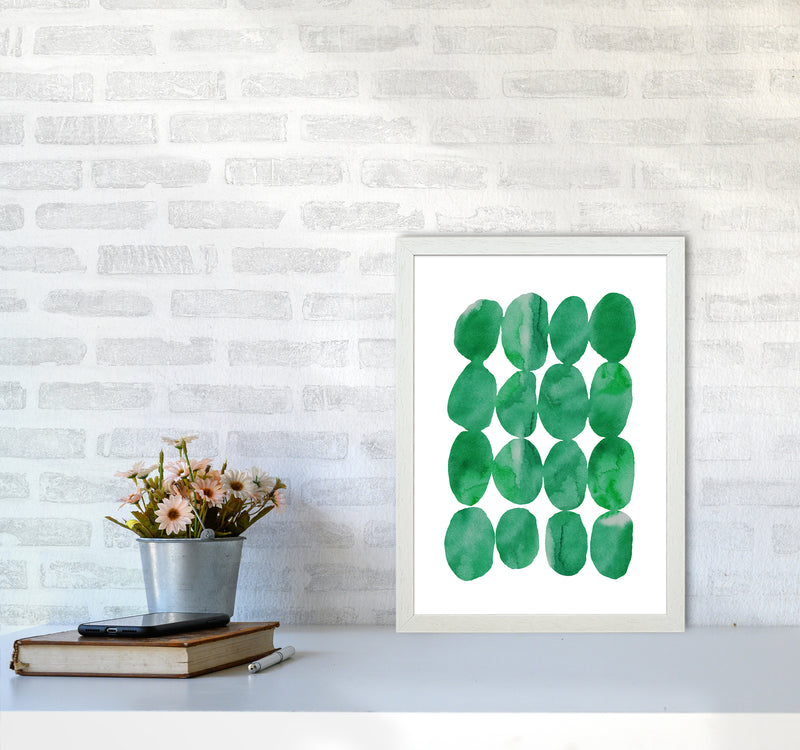 Watercolor Emerald Stones A3 White Frame