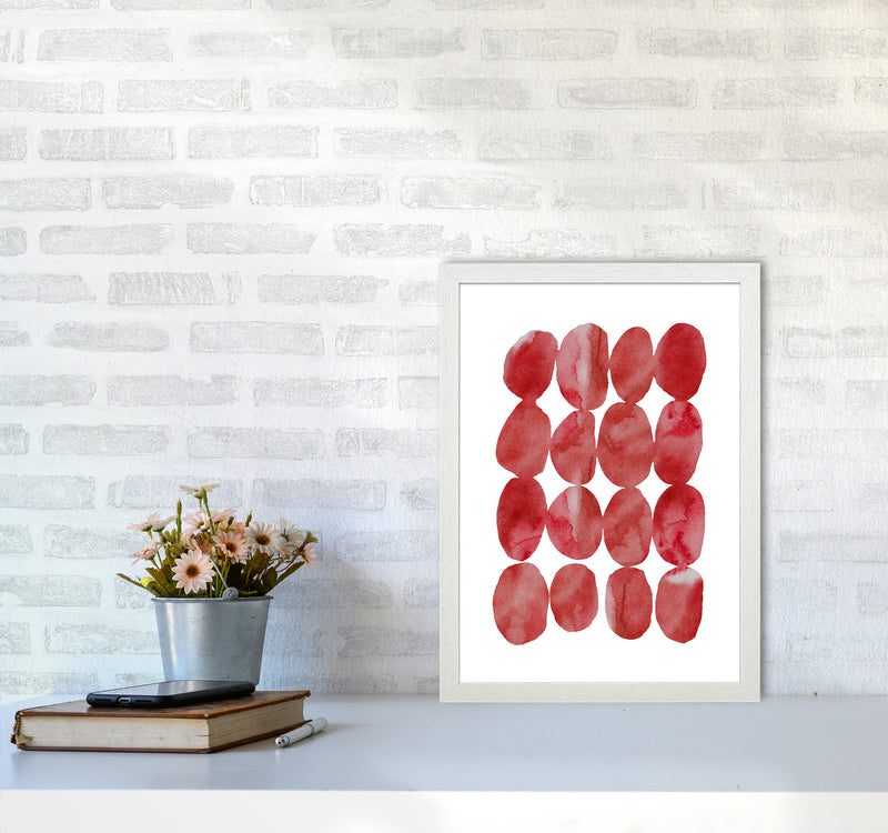 Watercolor Red Stones A3 White Frame