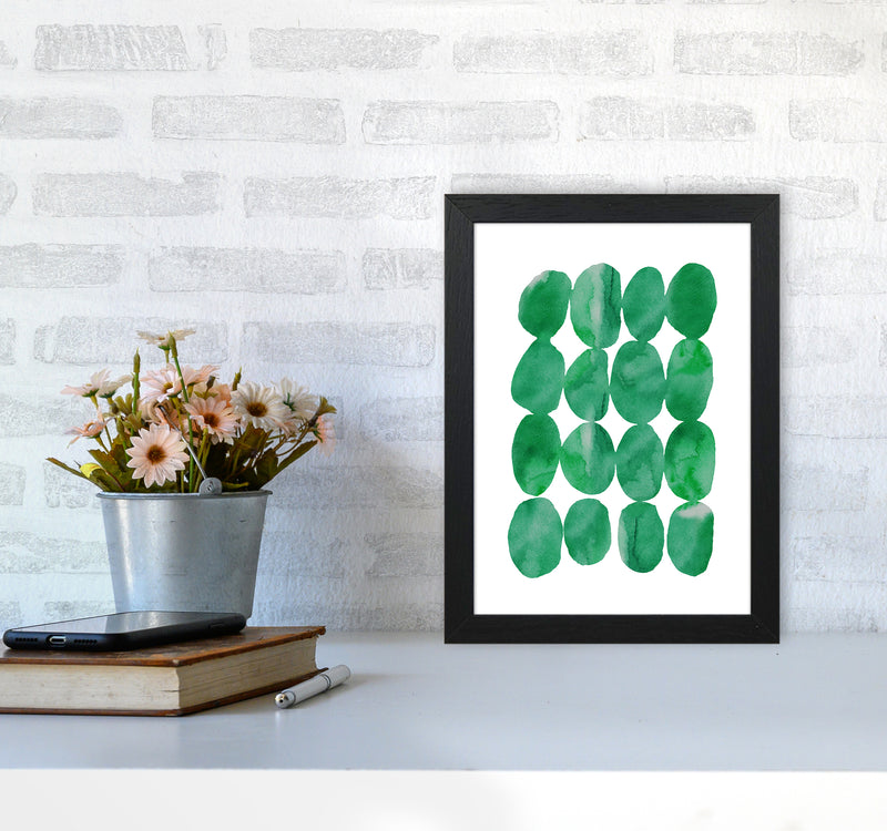 Watercolor Emerald Stones A4 Black Frame