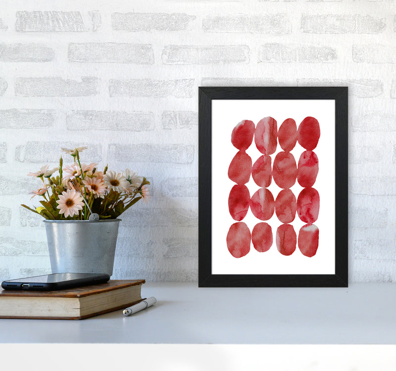 Watercolor Red Stones A4 Black Frame