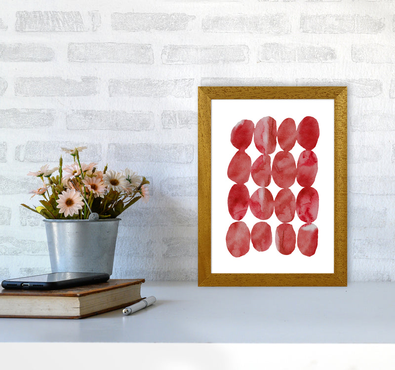 Watercolor Red Stones A4 Oak Frame