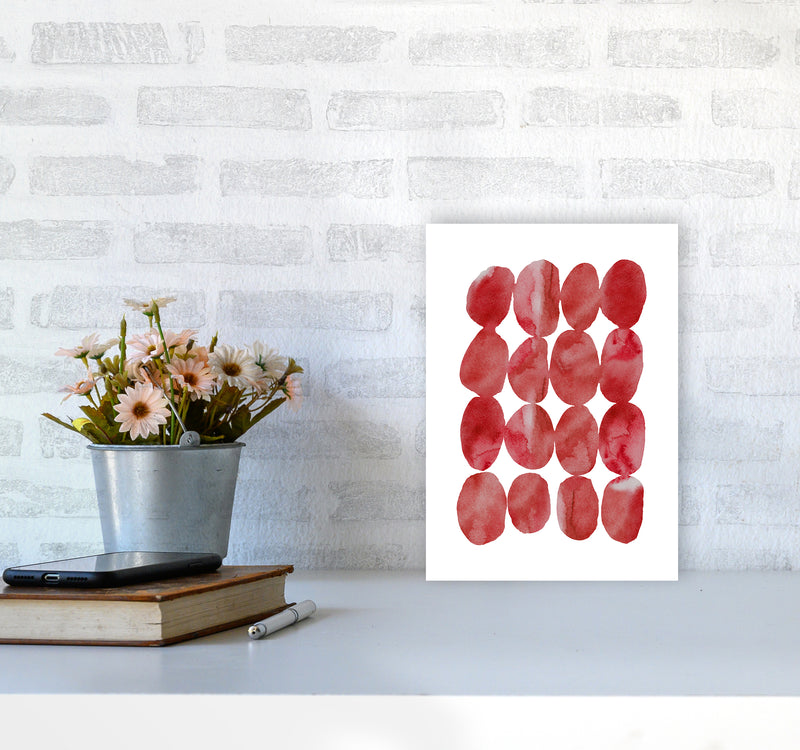 Watercolor Red Stones A4 Print Only