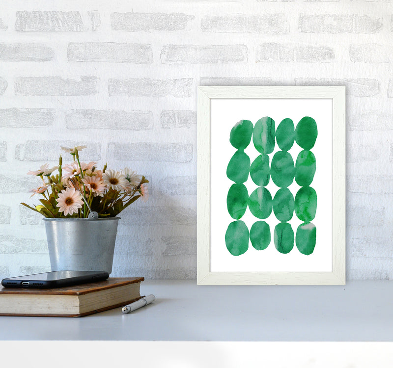 Watercolor Emerald Stones A4 White Frame