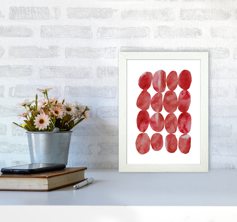 Watercolor Red Stones A4 White Frame