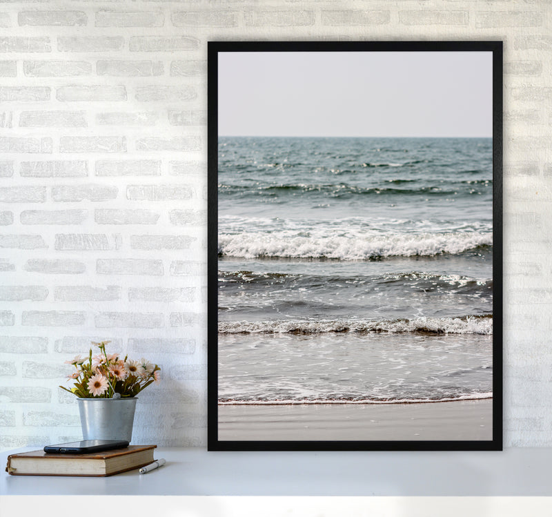 Blue Beach Waves Photography Print by Victoria Frost A1 White Frame