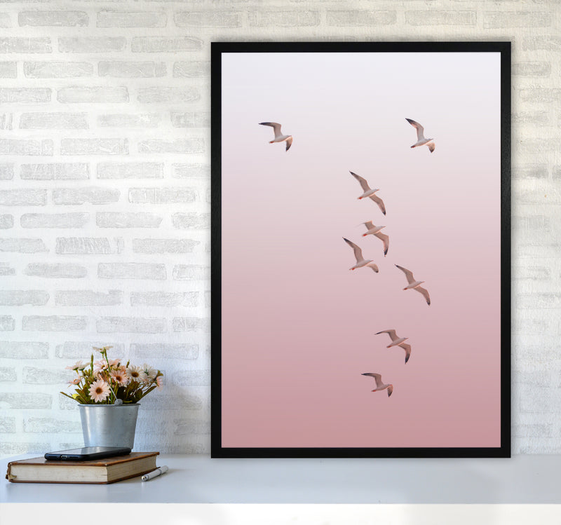 Birds in the Sky-pink Photography Print by Victoria Frost A1 White Frame