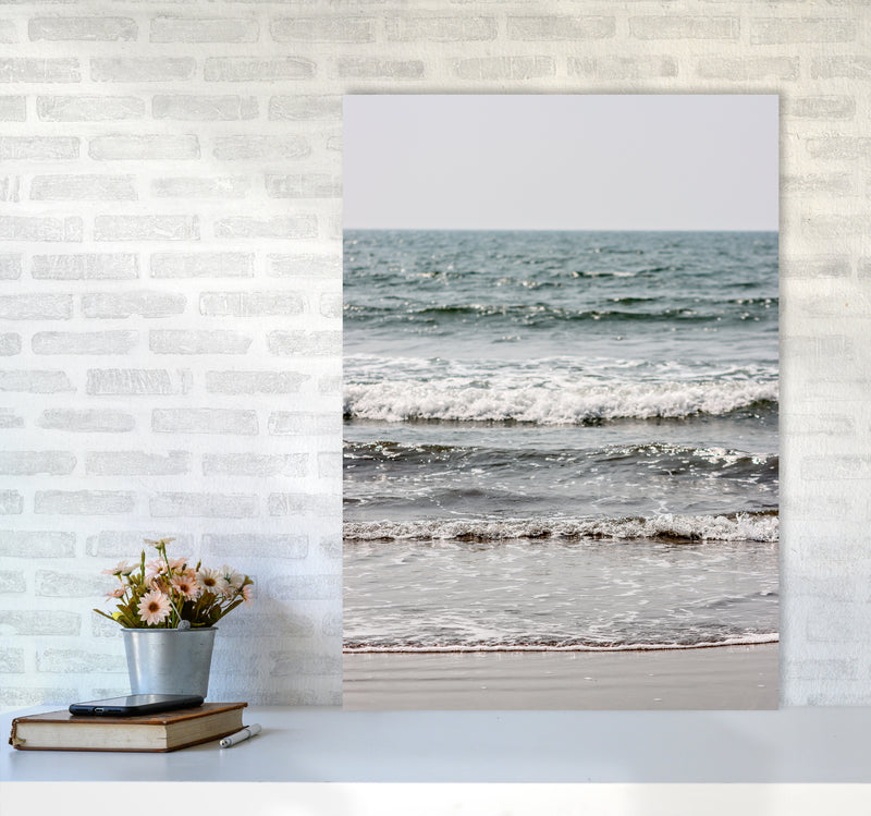 Blue Beach Waves Photography Print by Victoria Frost A1 Black Frame