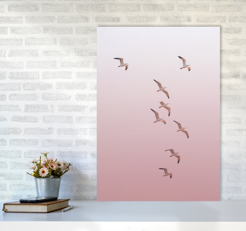 Birds in the Sky-pink Photography Print by Victoria Frost A1 Black Frame