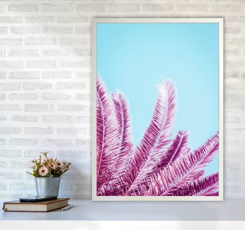 Pink Palm Trees Photography Print by Victoria Frost A1 Oak Frame