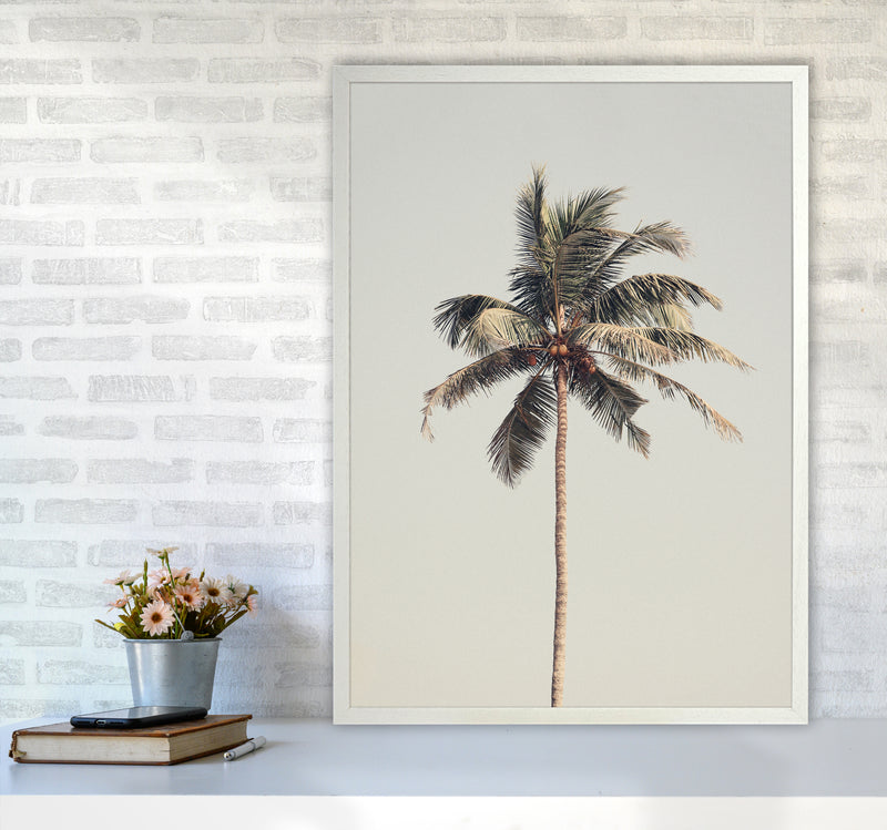 Palm tree by the beach Photography Print by Victoria Frost A1 Oak Frame