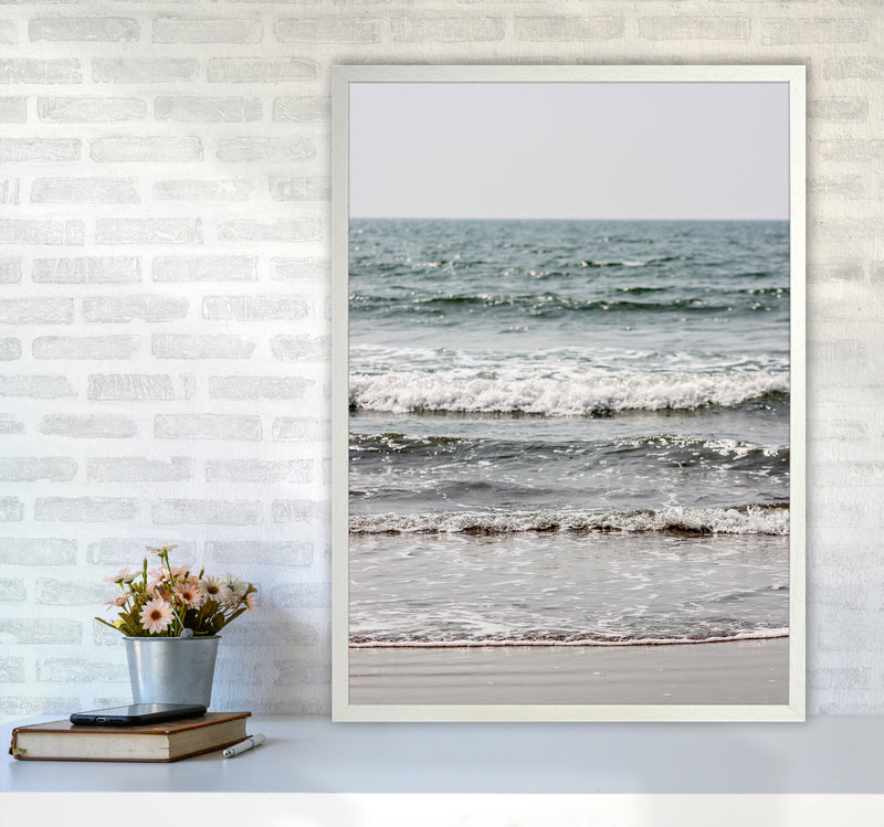 Blue Beach Waves Photography Print by Victoria Frost A1 Oak Frame